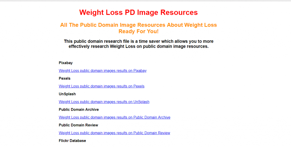 Public Domain Finder - Results - Weight Loss
