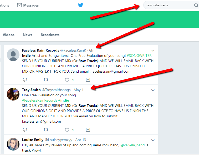 Twitter Search - raw indie tracks